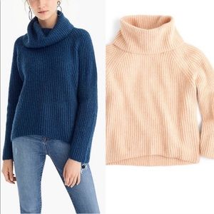 J. Crew Point Sur Ribbed Turtleneck Sweater Pink M